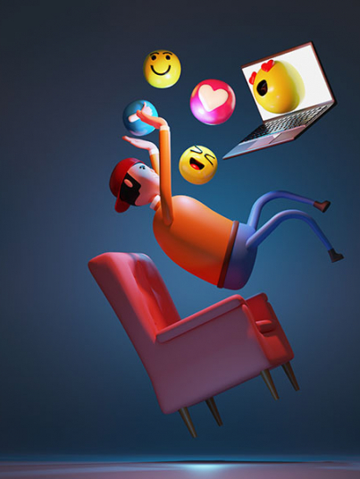 man using laptop connect to internet floating in the air with emotion icons. 3d rendering